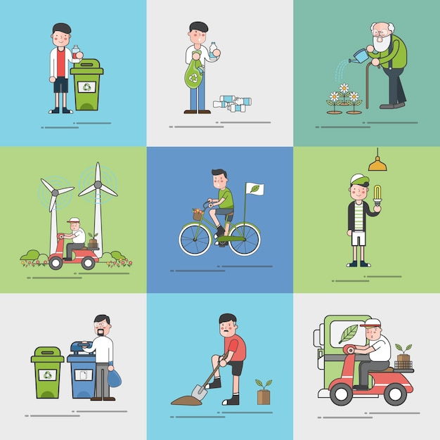Illustration set of environmental vector Free Vector