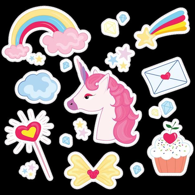 Иллюстрация набор для девочки. коллекция стилизованных рисунков для принцессы. Premium векторы