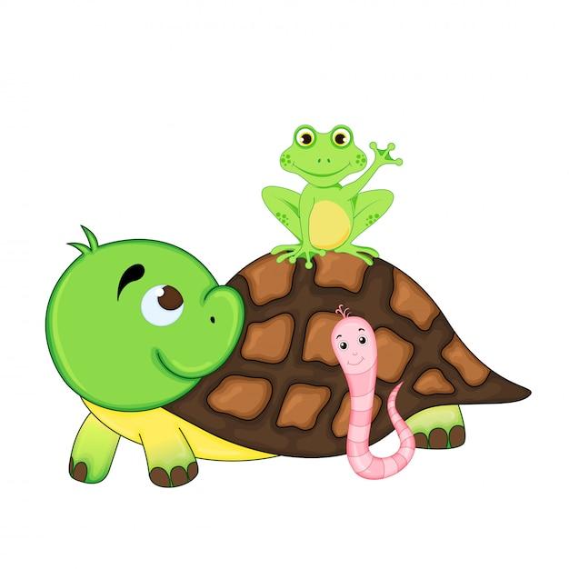 Illustration set of funny exotic animals Premium Vector