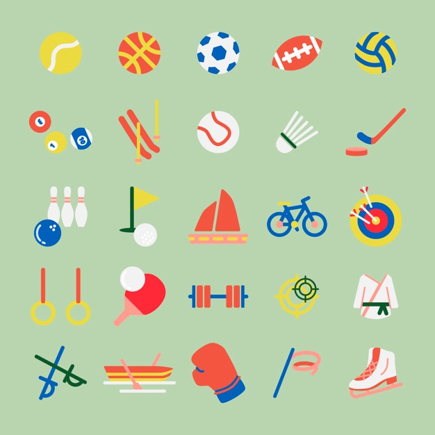 Illustration set of hobbies and sports iconsa Free Vector