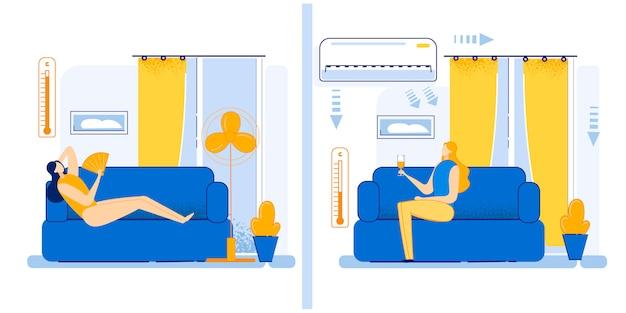 Illustration set how to move summer heat cartoon flat. Premium Vector