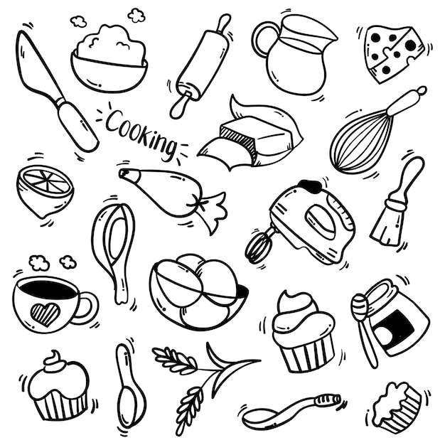 Illustration set of kitchen elements with doodle style Premium Vector