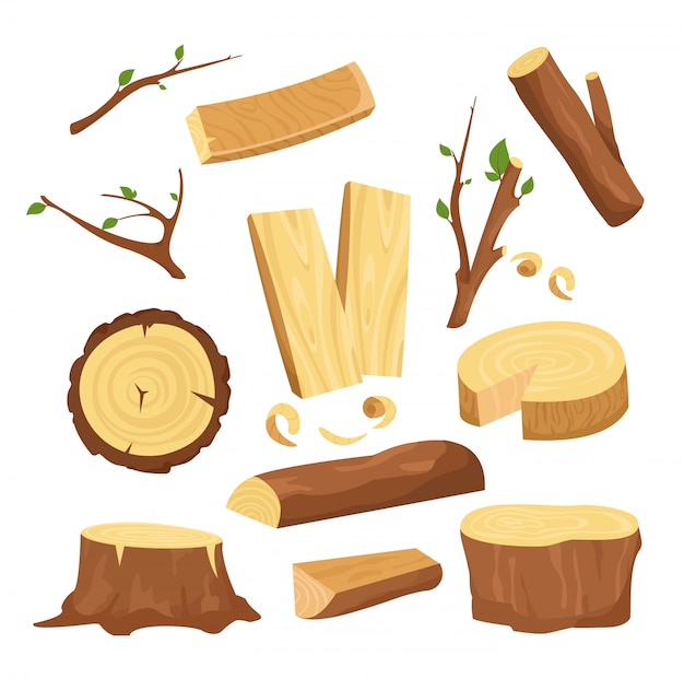Illustration set of materials for wood industry, tree logs, wood trunks, chopped firewood wooden planks, stump, twigs and trunks in cartoon  e. Premium Vector