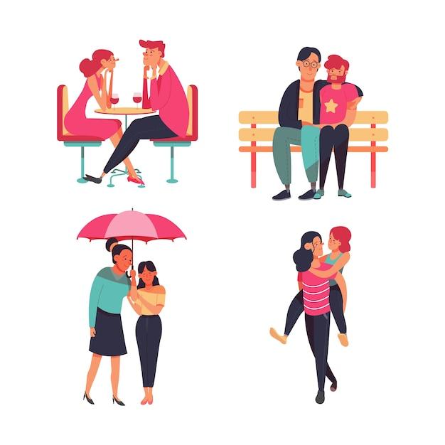 恋するカップルのイラストセット 無料ベクター