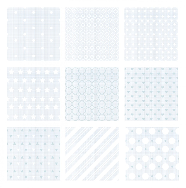 リネンの背景に9つの穏やかな色あせた青いレトロなシームレスパターンのイラストセット。 Premiumベクター