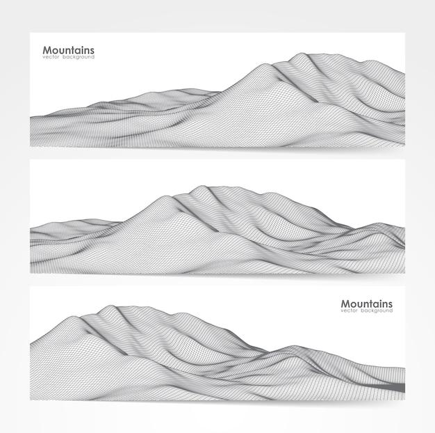 Иллюстрация: набор из трех макетов баннеров с каркасным пейзажем гор. Premium векторы