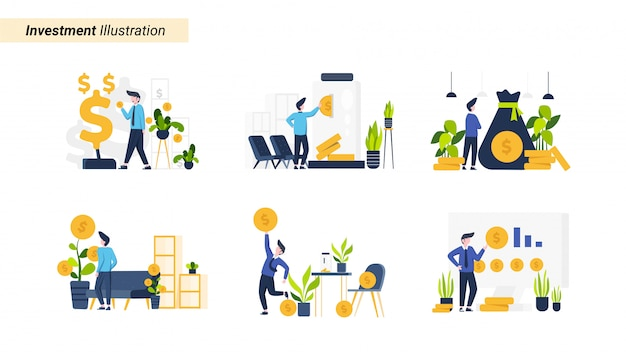 Illustration set people invest in stocks and assets, suitable for landing page Premium Vector