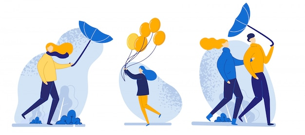 Illustration of set people walk in windy weather cartoon. Premium Vector
