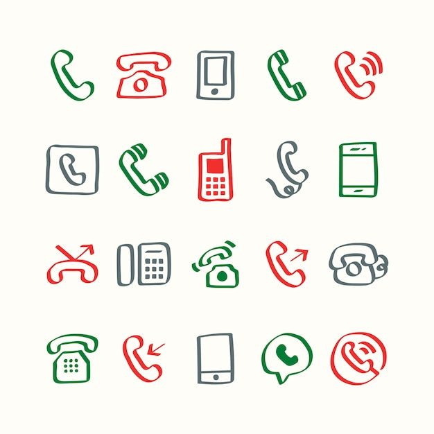 Illustration set of phone icons Free Vector