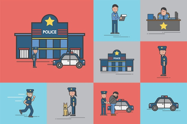 Illustration set of police vector Free Vector