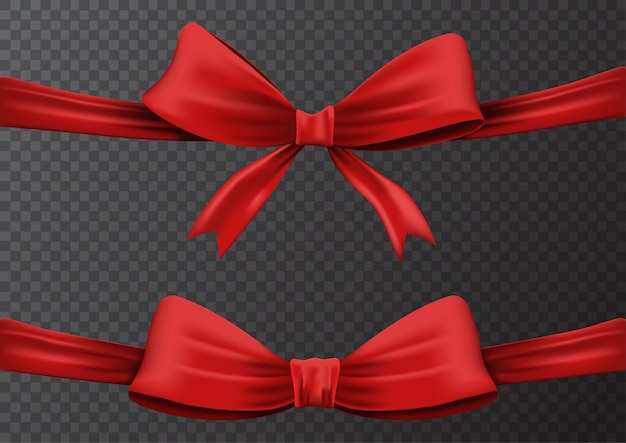 Illustration set of realistic red ribbon or red bow Premium Vector