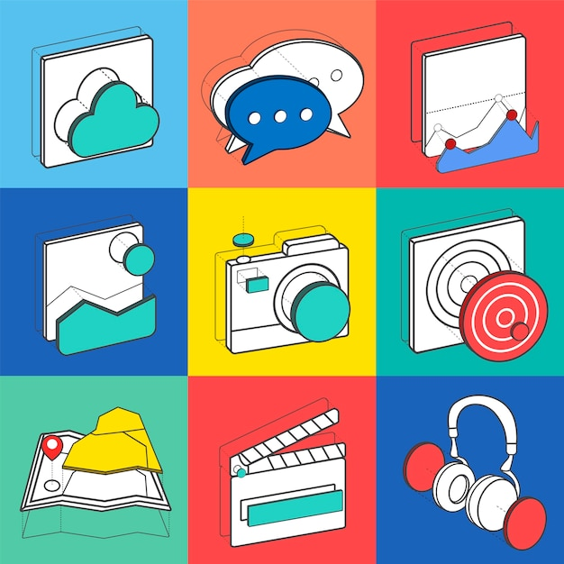 Illustration set of recreation icons Free Vector