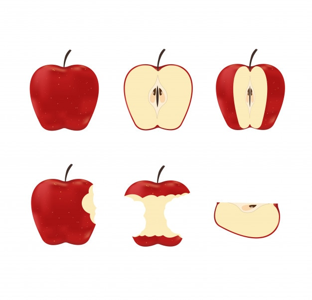 Illustration of set red ripe apples Premium Vector