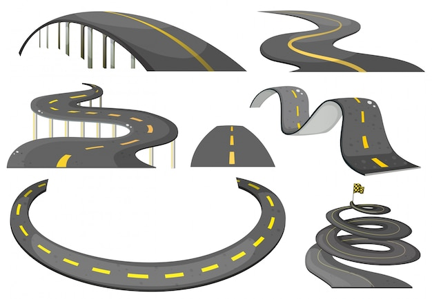 Illustration of a set of roads Free Vector
