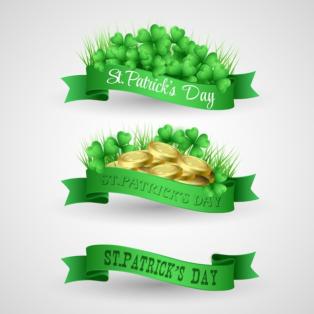 Illustration set of saint patrick day banner with clover and coins Premium Vector
