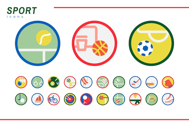 Illustration set of sports icons Free Vector