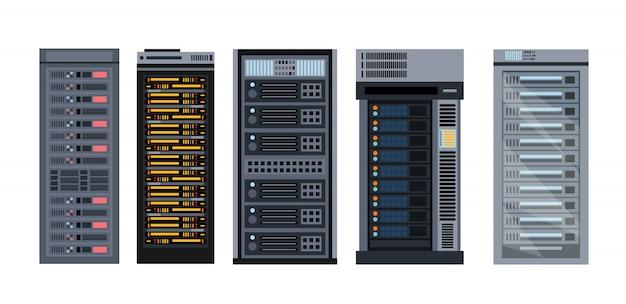 Illustration set of various cartoon server racks, different types of server rack collection of s Premium Vector
