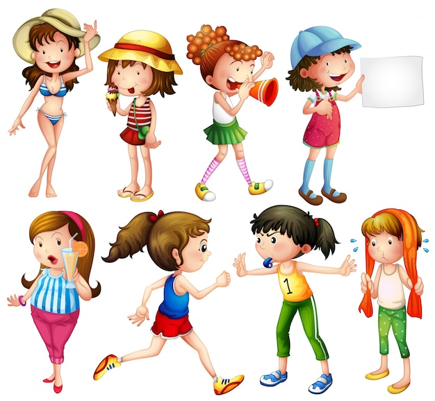Illustration of a set of women doing different things Free Vector
