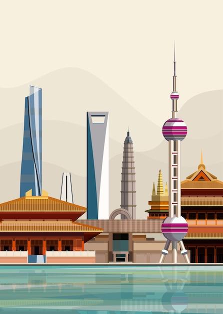 Illustration of shanghai city landmarks Free Vector