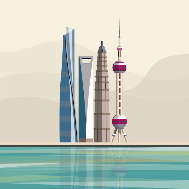 Illustration of shanghainese landmark skyscrapers Free Vector