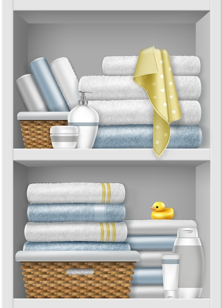 Illustration of shelf with clean folded towels in wicker basket Premium Vector