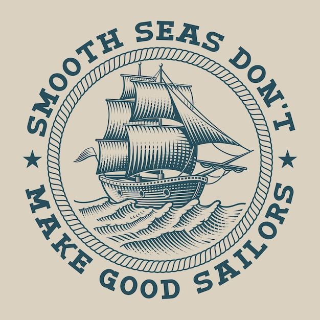 Illustration of a ship in engraving style. perfect for logos, shirt design and many other uses Premium Vector