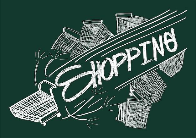 Illustration of shopping online Free Vector