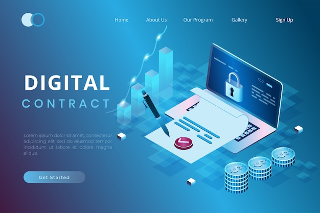 Illustration of signing digital contracts, agreements and policies online in isometric 3d style Premium Vector