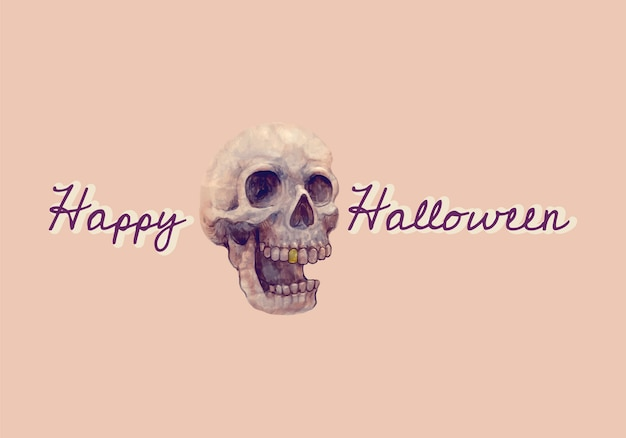 Illustration of a skull and happy halloween icon vector Free Vector