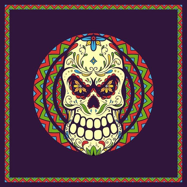 죽음의 그림 두개골 멕시코의 날, 디아 드 로스 뮤 에르 토스 프리미엄 벡터
