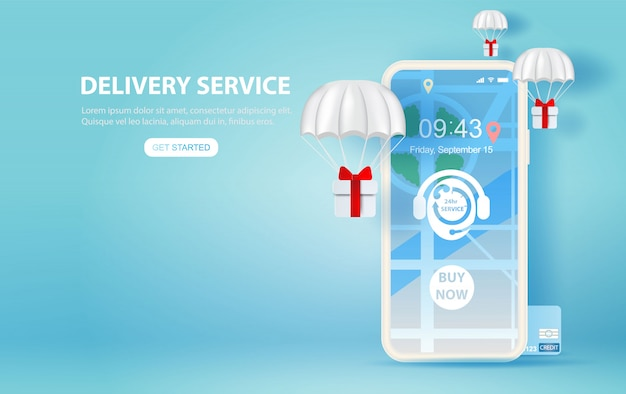 Illustration of smartphone with online delivery service Premium Vector
