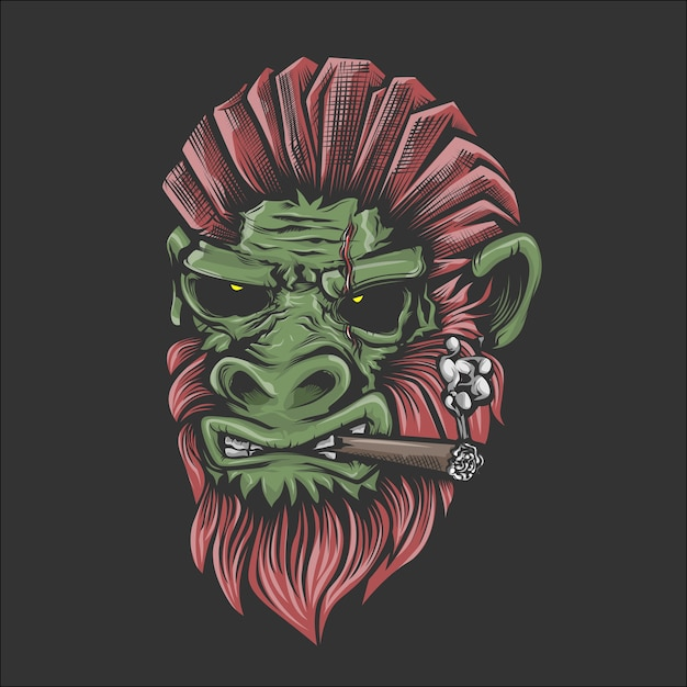 Illustration of smoking gorrillas face Premium Vector