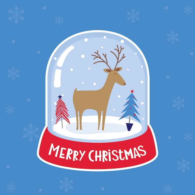 Illustration of a snow ball globe has a reindeer and christmas pine trees inside Premium Vector