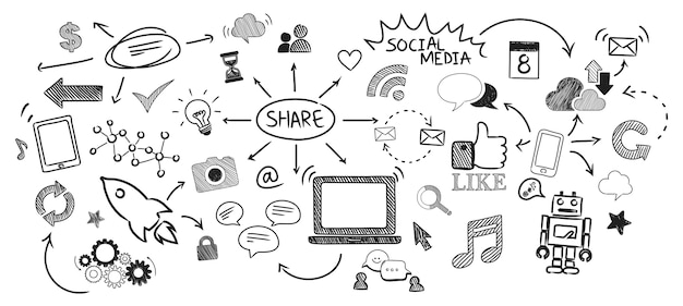 Illustration of social media concept Free Vector