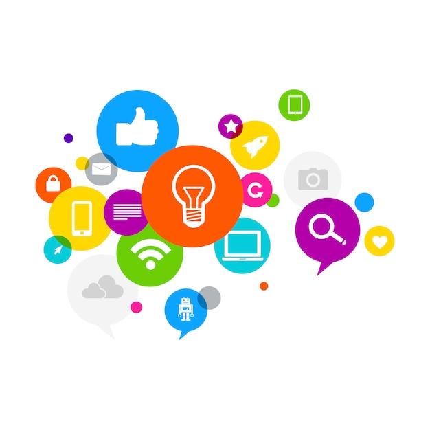 Illustration of social media concept Free Vector
