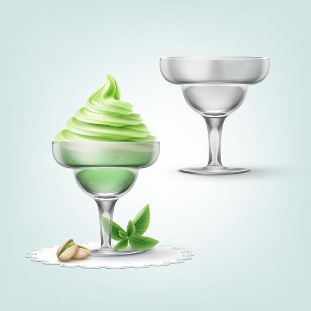 Illustrazione di gelato al pistacchio morbido con noci in tazza e tazza vuota Vettore gratuito