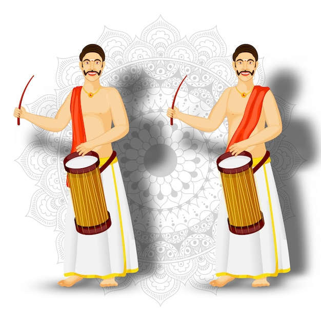 Illustration of south indian drummer character on mandala pattern background. Premium Vector