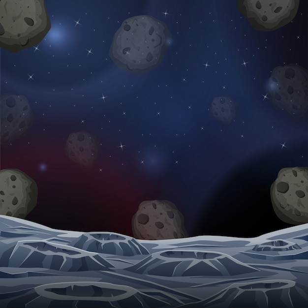 Illustration of space asteroid surface Premium Vector