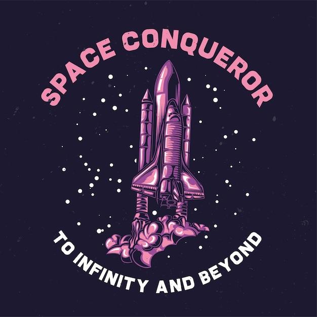 Illustrazione della nave spaziale Vettore gratuito