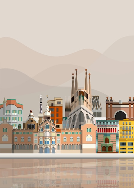 Illustration of spanish landmarks Free Vector