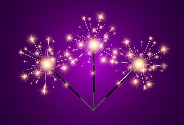 Illustration of sparklers on a transparent background. Premium Vector