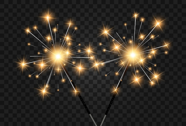 Illustration of sparklers on a transparent background. Premium Vector