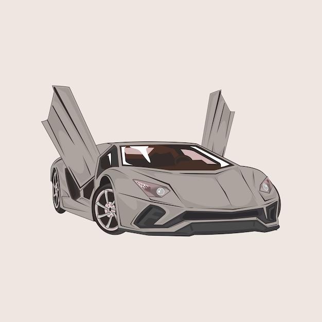 Illustration of sport car with open doors Premium Vector