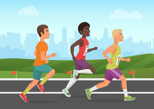 Illustration of sportsmen running on stadium. runners people. Premium Vector