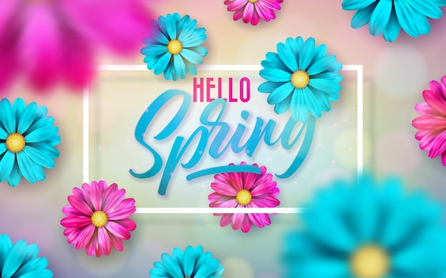 Illustration on a spring nature theme with beautiful colorful flower on shiny light background. Free Vector
