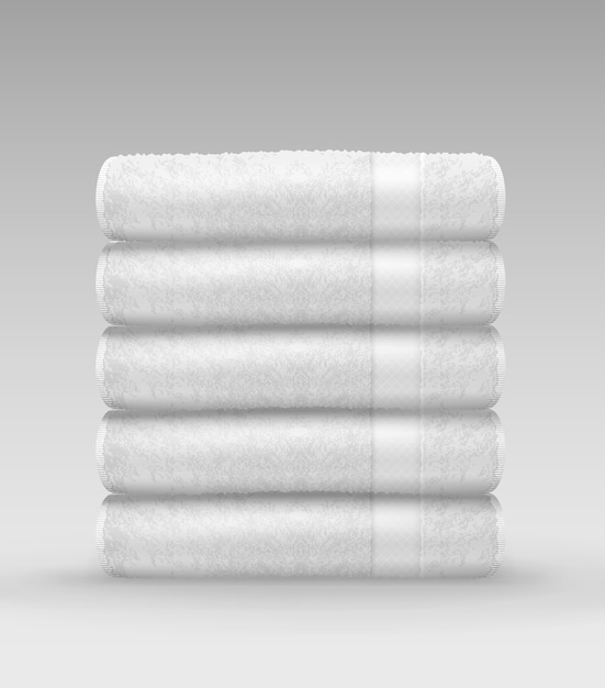 Illustration of stack white clean terry folded towels on gray background Premium Vector