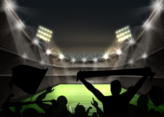 Illustration of stadium with bright spotlight illuminates green football field and fans silhouettes Free Vector