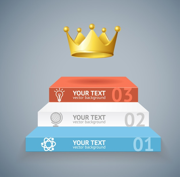 Illustration stairs and crown isolated on grey background option banner Premium Vector