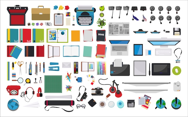 Illustration of stationery at workplace Free Vector