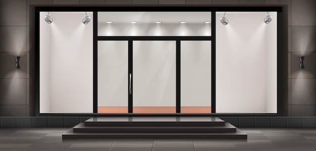 Illustration Of Storefront With Steps And Entrance Door